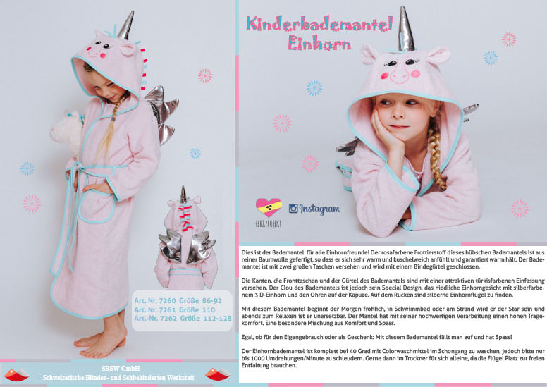 kinderbademantel einhorn